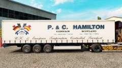 Skin P.&C. Hamilton on a curtain semi-trailer for Euro Truck Simulator 2