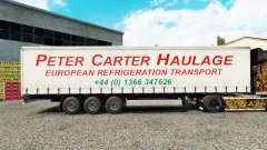 Skin Peter Carter Haulage on curtain semi-trailer for Euro Truck Simulator 2