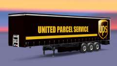 Skin United Parcel Service on a curtain semi-trailer for Euro Truck Simulator 2