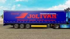 Skin Jolivan Transportes on a curtain semi-trailer for Euro Truck Simulator 2
