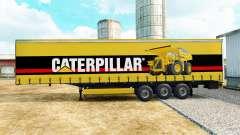 The skin of the Caterpillar on a curtain semi-trailer for Euro Truck Simulator 2