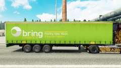 Skin of Bring Logistics on a curtain semi-trailer for Euro Truck Simulator 2