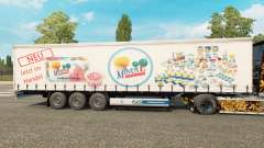 Skin MinusL on a curtain semi-trailer for Euro Truck Simulator 2
