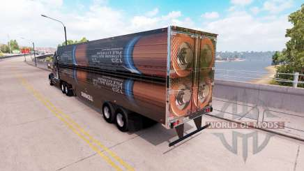 A collection of 3D skins on the trailer for American Truck Simulator
