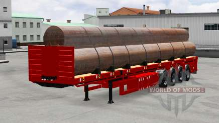 The semitrailer-platform with pipes for American Truck Simulator