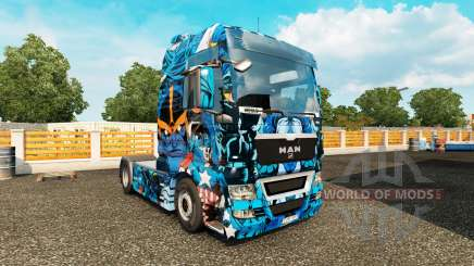 Skin Marvel Heroes on the truck MAN for Euro Truck Simulator 2