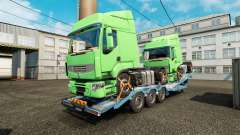 Semi trailer-car carrier with cargo trucks