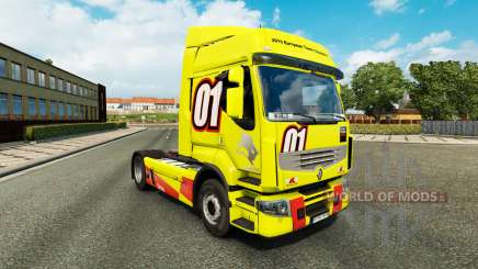 Racing Yellow skin for Renault Premium truck for Euro Truck Simulator 2