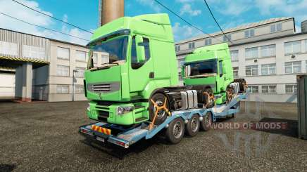 Semi trailer-car carrier with cargo trucks for Euro Truck Simulator 2