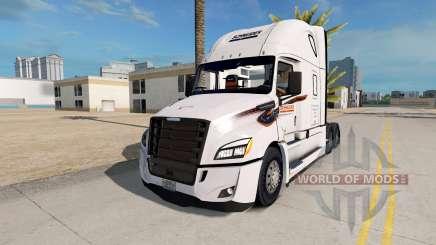 Skin on Schneider truck Freightliner Cascadia for American Truck Simulator