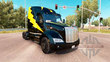 Skin Stars and Volts on a Peterbilt 579 tractor for American Truck Simulator