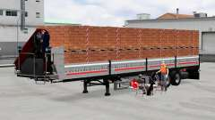 Flatbed semi trailer with cargo