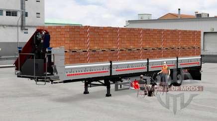 Flatbed semi trailer with cargo for American Truck Simulator