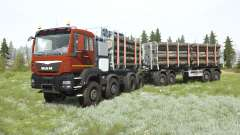MAN TGS 41.480 8x8 dark pastel red for MudRunner