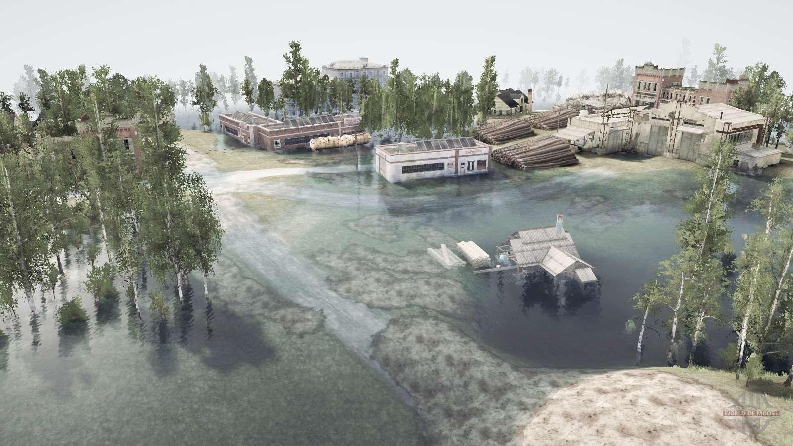 Flooded town for MudRunner